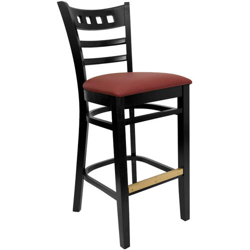American Back Barstool with Black Finish and Gr 2 Burgundy Vinyl Seat