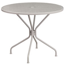 35.25'' Round Light Gray Indoor-Outdoor Steel Patio Table