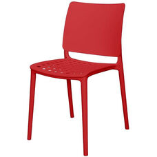 Marcay Resin Outdoor Stackable Armless Side Chair - Red
