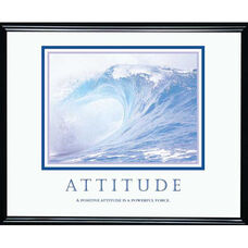 Advantus 30'' W x 24'' L Framed Motivational Art Print - Attitude with Blue Ocean Wave