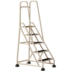 Stop Step 5 Step Ladder with Double Handrail - Beige