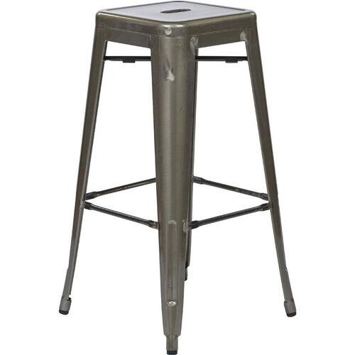 OSP Designs Bristow 30'' Backless Metal Barstools - Set of 4 - Gunmetal