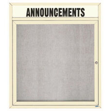 1 Door Outdoor Enclosed Bulletin Board with Header and Ivory Powder Coated Aluminum Frame - 36''H x 30''W