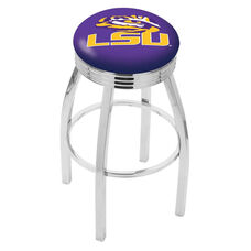 Louisiana State University 25'' Chrome Finish Swivel Backless Counter Height Stool with 2.5'' Ribbed Accent Ring