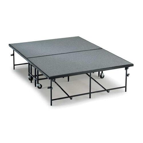 Mobile Heavy Duty 16 Gauge Steel Hardboard Deck Stage Section - 4'W x 8'L x 8''H