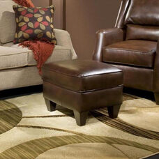 Russell Traditional Style Faux Leather Ottoman - Cantina Cocoa