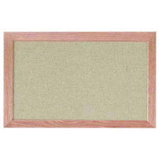 Burlap Weave Vinyl Bulletin Board with Red Oak Frame and Clear Lacquer Finish - Dover - 12''H x 18''W