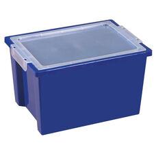 Large Extra Deep Plastic Storage Bin with Lid - Blue - 13.75''W x 10.13''D x 8.38''H