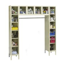 Safety Clear View Plus Box Locker Unassembled - 16 Person Unit - Parchment Finish - 72''W x 18''D x 78''H