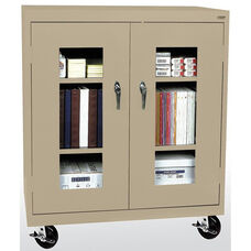 See-Thru Series 36'' W x 18'' D x 48'' H Clear View Mobile Counter Height Cabinet - Tropic Sand