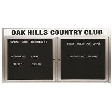 2 Door Outdoor Illuminated Enclosed Directory Board with Header and Aluminum Frame - 36''H x 72''W