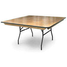 60'' Square Plywood Folding Table with Locking Wishbone Style Legs