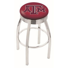 Texas A&M University 25'' Chrome Finish Swivel Backless Counter Height Stool with 2.5'' Ribbed Accent Ring