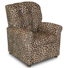 Kids 4 Button Tufted Back Upholstered Recliner - Cheetah
