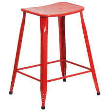 24'' High Red Metal Indoor-Outdoor Counter Height Saddle Comfort Stool