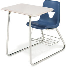 2000 Series Sled Base Combo Desk with Hard Plastic Top and Bookrack - 24''W x 36''D x 30''H