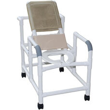 Reclining Shower Chair with Open Front Commode Seat and Casters - 24''W X 48''H