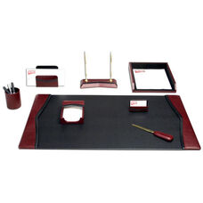 Contemporary Leather 8 Piece Desk Set - Burgundy