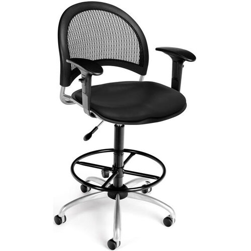 Moon Swivel Chair with Vinyl Seat with Arms and Drafting Kit - Black