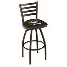 University of Missouri 25'' Black Wrinkle Finish Swivel Counter Height Stool with Ladder Style Back