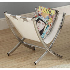 Faux Leather and Chrome 15''H Magazine Rack - White