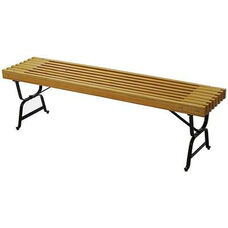Mall Style Russian Hardwood Slat and Black Steel Frame Backless Bench - Gold
