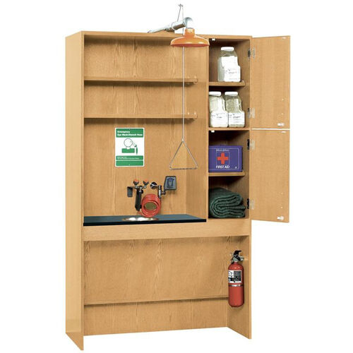 ADA Science Lab Safety Station with Washing Station and Fire Safety Equipment - 48''W x 22''D x 84''H