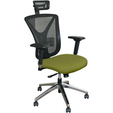 Fermata Executive Mesh Chair with Aluminum Base and Headrest - Fennel Fabric