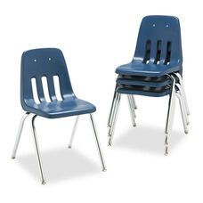 Virco® 9000 Series Classroom Chair - 18'' Seat Height - Navy/Chrome - 4/Carton