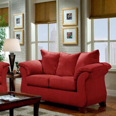 Armstrong Traditional Style Microfiber Loveseat - Sensations Red Brick