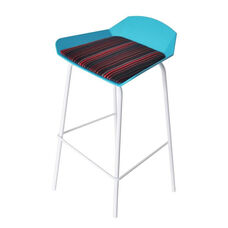 Minimalist Stackable Barstool with Padded Seat - Blue