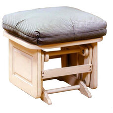 Maple Wood Ottoman with Raised Side Panel - Antique White Finish