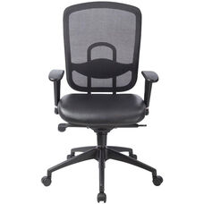 Accent Mesh 25.2'' W x 24.4'' D x 41.3'' H Adjustable Height Office Chair with Leather Seat - Black