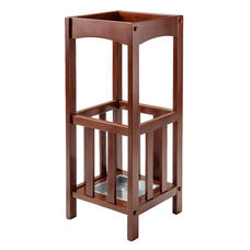Rex Solid Wood 27'' H Umbrella Stand with Metal Drip Tray - Walnut