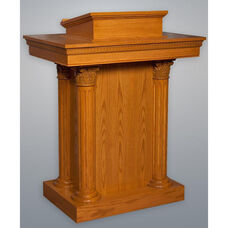 Stained Red Oak Closed Pulpit with Round Fluted Column Accents