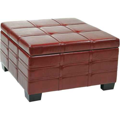 Ave Six Detour Eco Leather Strap Ottoman with Tray - Crimson Red