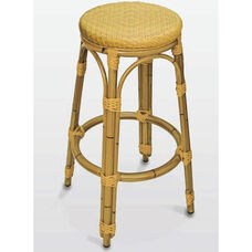 Backless Outdoor Barstool with Woven Seat