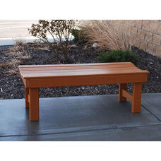 Recycled Plastic Backless 4' Garden Bench with Contoured Seat