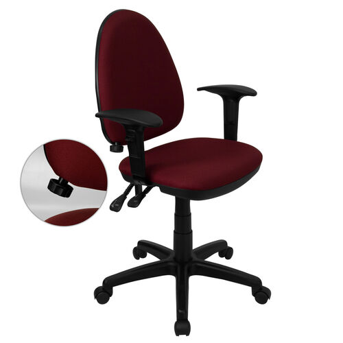 Mid-Back Burgundy Fabric Multifunction Swivel Task Chair with Adjustable Lumbar Support and Adjustable Arms