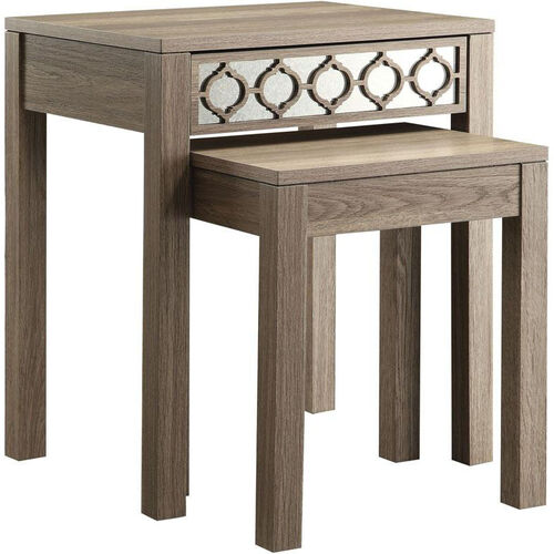 OSP Designs Helena Nesting Tables with Mirror Accent Panel - Greco Oak