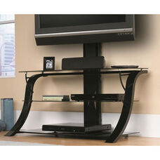 Select Collection 44''W Steel TV Stand with Glass Shelves - Black