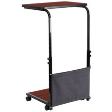 Mobile Sit-Down, Stand-Up Mahogany Computer Desk with Removable Pouch (Adjustable Range 27'' - 46.5'')