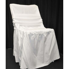 Renaissance Series Ruffled Shrink Resistant Polyester Chair Cover with 6''W x 105''L Sash - White