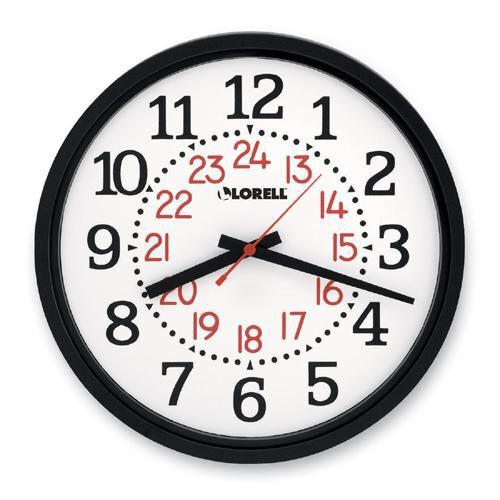 Lorell Military Wall Clock -14 -3/4''Dia -12/24 Hour -WE Dial/Black Frame