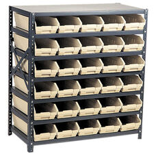 12''D 7 Shelf Unit with 48 Bins - Ivory