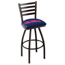 University of Mississippi 25'' Black Wrinkle Finish Swivel Counter Height Stool with Ladder Style Back