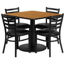 36'' Square Natural Laminate Table Set with Ladder Back Metal Chair and Black Vinyl Seat, Seats 4