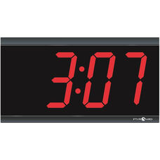 Non-Glare Shatterproof Polycarbonate Digital Clock with 4 Digit LED Display and 30 Day Backup Battery - 11.31''W x 1.5''D x 6.12''H