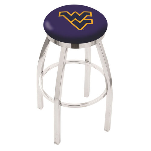 West Virginia University 25'' Chrome Finish Swivel Backless Counter Height Stool with Accent Ring