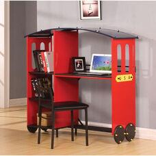 Tobi 35''W x 50''H Desk with 3 Shelf Bookcase - Train - Red and Black